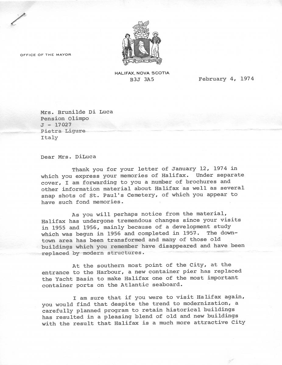 La lettera del sindaco di Halifax che accoglie i suggerimenti d Brunilde per la risistemazione del cimitero.